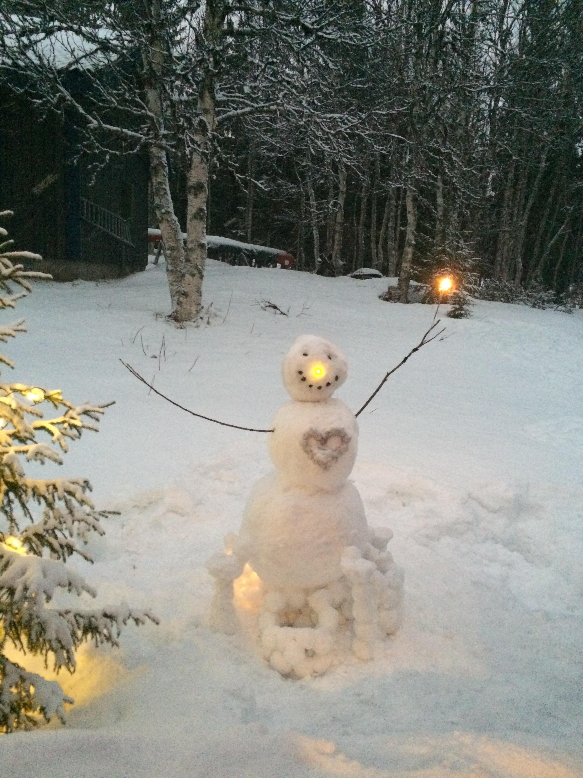 Snømann med lys
