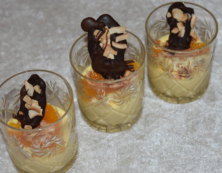 Ingredienser 2-3 Appelsiner (1½ dl saft) 1 dl Sukker 5 Egg 40 g Smør (valgfritt) 3 pl Gelatin (valgfritt) 2 dl Fløte