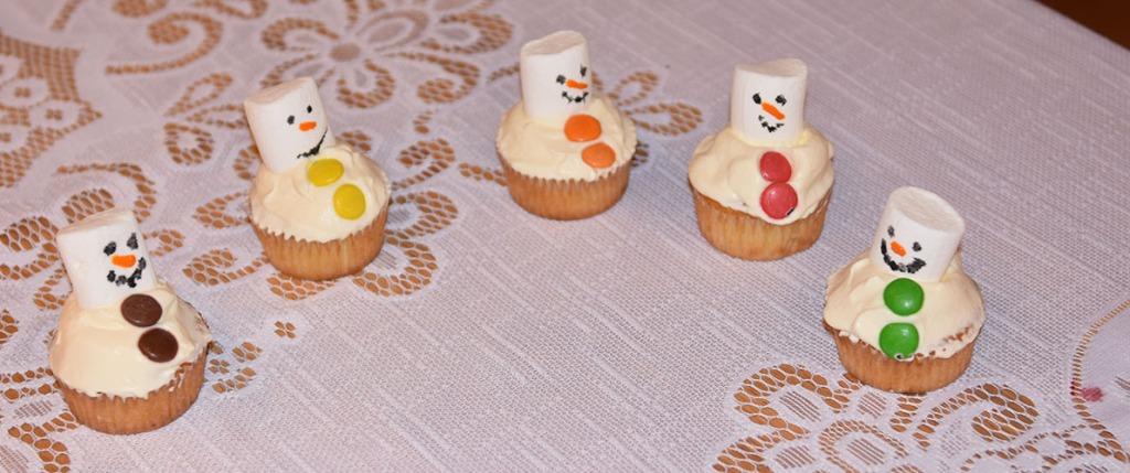 Snømannmuffins Ingredienser: 1½ dl Sukker 100 g Smør /margarin (smeltet) 2 Egg 2½ dl Hvetemel 1 ts Bakepulver 1 ts Vaniljesukker 1 dl Melk Pynt: 1- 2 dl Kremfløte Marshmallows Nonstop konditorfarge