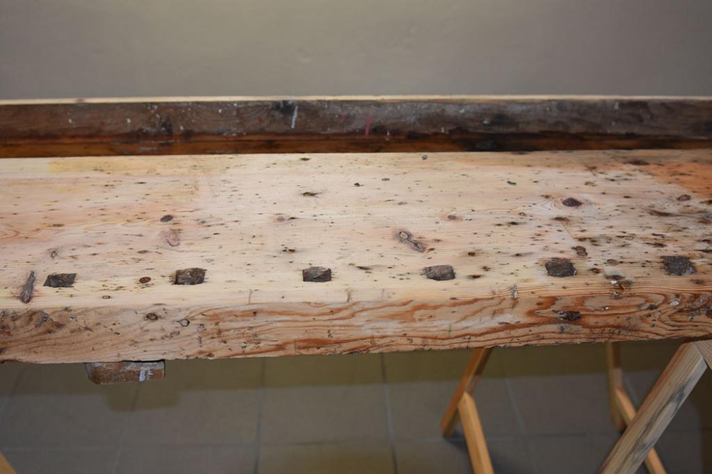 Svigerfar Daniels høvelbenk - nypusset Sommerhuset vårt - Garten, Trøndelag -- Snekkerrommet og det er klart for maling, nytt gulv, nye vegger mm